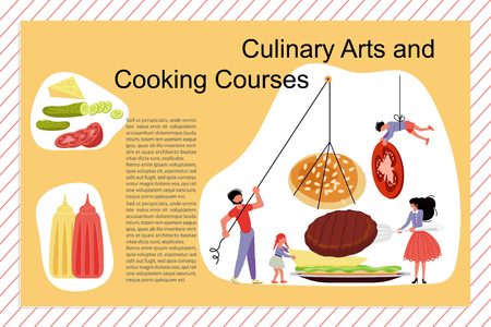 Culinary art and cooking courses Poster, banner template. Happy family cooking together a hamburger concept. Dad, mom, daughter, son enjoys of cookery. Flat Vector illustration