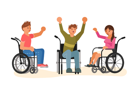 Equal opportunity Happy group of students. Wheelchair disabled Young people isolated on white background. Flat Art Vector illustration