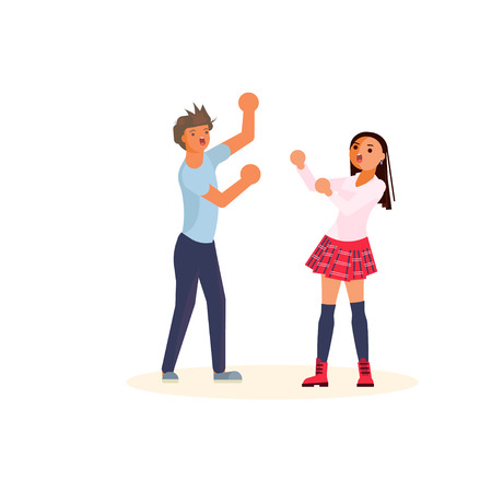 Young man and woman quarrelling and making a loud public scandal. Flat design isolated on white background. Flat Art Vector illustration Illustration