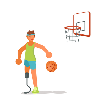 Male disabled young sportsman playing basketball in flat cartoon style. Flat Art Vector illustration  イラスト・ベクター素材