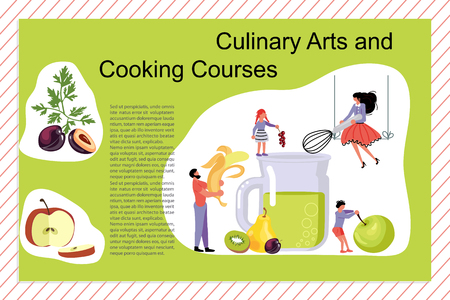 Culinary art and cooking courses Poster, banner template. Happy family cooking together a healthy green smoothie concept. Dad, mom, daughter, son enjoys of cookery. Flat Vector illustration Illustration