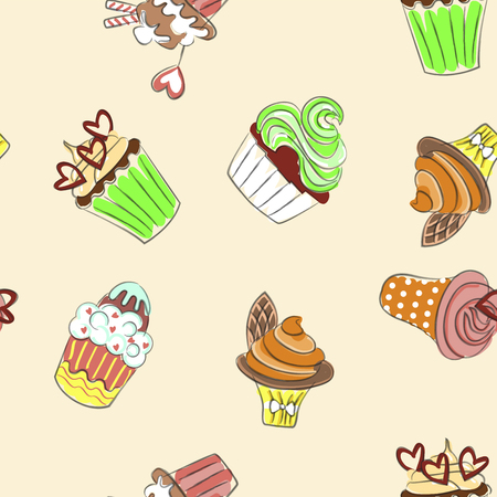 Abstract seamless pattern with colorful cupcakes. Vector illustration eps