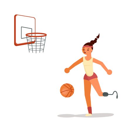 Male disabled young sportswoman playing basketball in flat cartoon style. Flat Art Vector illustration