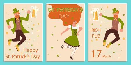 Set of greeting banners of Saint Patricks Day. Cute cartoon leprechauns holding mugs of beer dancing. Flat Art Vector illustration Иллюстрация