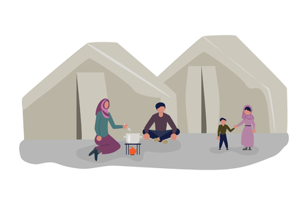 Family cooking lunch in a refugee camp. Migrant get into Europe isolated on white background. Flat Art Vector illustration