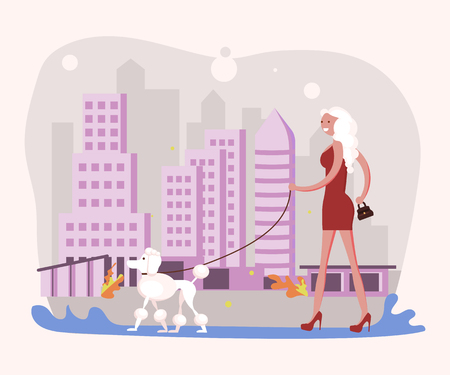 Beautiful woman pet owner plays with her dog on a walk in city park. Flat Art Vector illustration