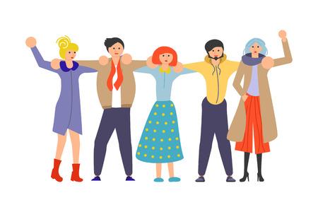 Concept de l'état d'être proche d'une autre personne, le sens de l'unité de différentes personnes dans le monde. Illustration vectorielle d'art plat Vecteurs