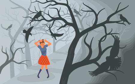 Girl screaming in horror and covers his head with his hands from Black ravens attacking her. Crows and lonely woman on Scary Halloween background with old dead trees. Flat Art Vector illustration
