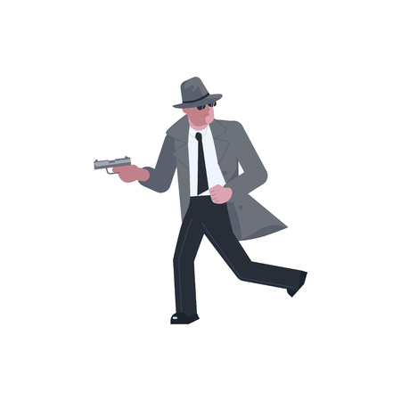 Mysterious man wearing a gray hat and coat with a raised collar takes aim with a pistol and runs away isolated on white background. Flat Art Vector illustration