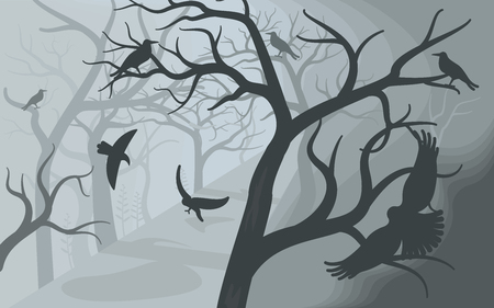 Black crows in a terrible foggy forest. A flock of crows on Scary Halloween background with old dead trees. Flat Art Vector illustration