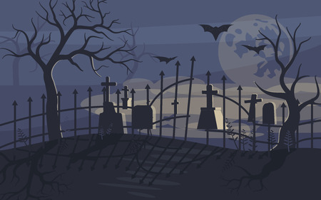 Ghost on Scary Halloween background with old cemetery and moonlit night. Flat Art Vector illustration Иллюстрация