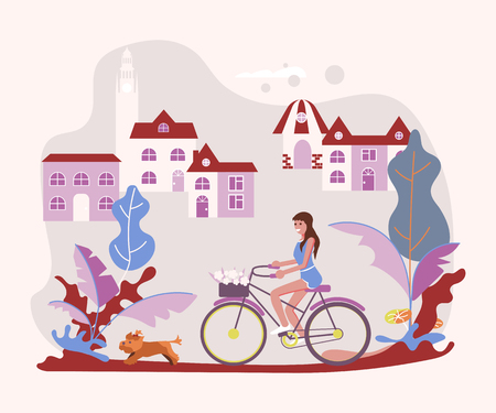 Beautiful woman pet owner on bicycle with her dog on a walk. Flat Art Vector illustration