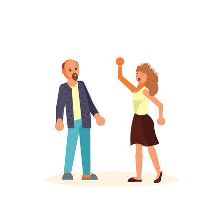 The married couple quarrels in flat design. Wife scold your husband. Man is frightened and surprised. Isolated on white background. Flat Art Vector illustration