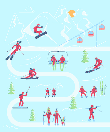 Mountain Ski resort infographic map with Skiers and snowboarder characters. Flat Art Vector illustration