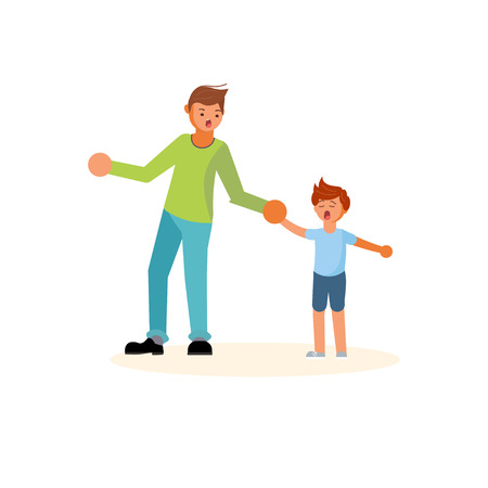 Father pulls the hand of a capricious son. Concept of parenting style and fatherhood. Flat Art Vector illustration