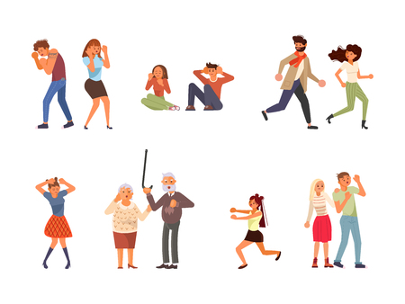 Set of frightened People. Men and women are screaming in horror and running away. Flat Art Vector Illustration