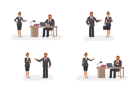 Smart businessman and woman character creation set with various views, face emotions, poses and gestures in cartoon style. Flat Art Vector illustration