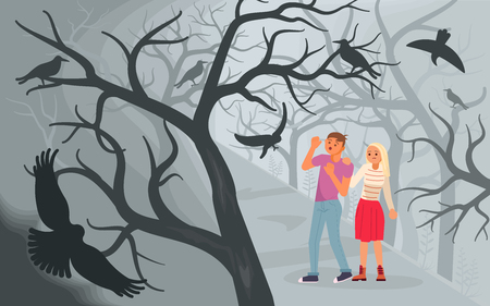 Concept of horror and Halloween background. Black ravens attacking a man and a woman walking in a misty forest. Flat Art Vector illustration Illustration
