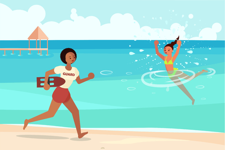 Young woman drowns in the sea and asks for help. Female lifeguard saving a drowner, professional rescuer on duty running to the rescue. Flat Art Vector illustration Illustration