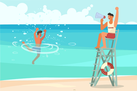 Young man drowns in the sea and asks for help. Male lifeguard saving a drowner, professional rescuer on duty. Flat Art Vector illustration Illustration