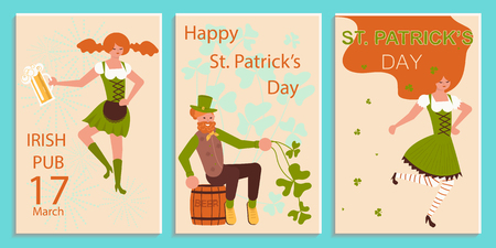 Set of greeting banners of Saint Patricks Day. Cute cartoon leprechauns holding mugs of beer dancing. Flat Art Vector illustration Illustration
