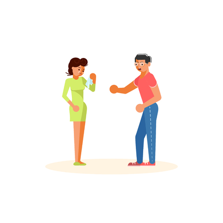 Family problems, pressure at work concept. Despaired woman is crying  in front angry man shouting at her. Flat Art Vector illustration