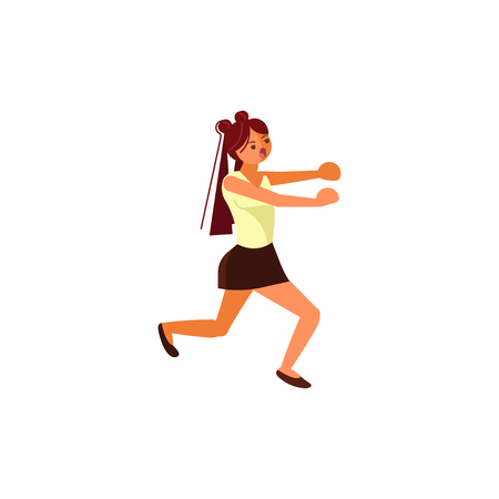 Female cartoon character chasing someone. Frightened teenage girl in skirt running away. Flat Art Vector illustration Stock Illustratie