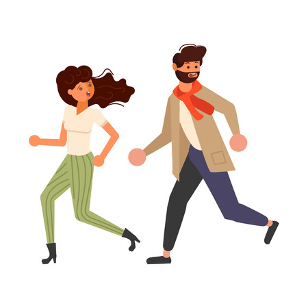 Male and female cartoon characters chasing someone. Frightened boy and girl looking back scared, running away afraid of something in panik. Flat Art Vector illustration