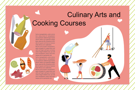 Culinary art and cooking courses Poster, banner template in flat. Happy family cooking together a sashimi concept. Dad, mom, daughter, son enjoys of cookery. Flat Vector illustration Illustration