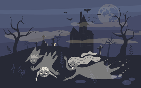 Ghost and zombie on Scary Halloween background with old cemetery and moonlit night. Flat Art Vector illustration