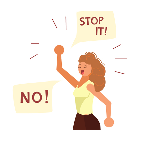 Young woman with t fist raised in the air say No. Revolution political protest activism patriotism. Women empowerment movement concept. Flat Art Vector illustration