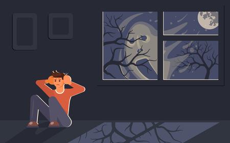 Jeune homme effrayé assis sur le sol et se cachant d'un visage flou effrayant à l'extérieur. Ombre d'un fantôme derrière la fenêtre. Illustration vectorielle d'art plat