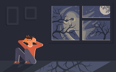 Scared young man sitting on floor and hiding from frightening blurry face outside. Shadow of a ghost behind the window. Flat Art Vector illustration