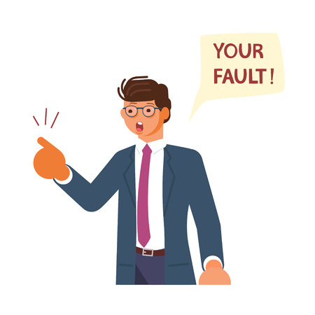 The prosecutor in court makes the charge. Angry senior man pointing his finger at you, blaming and blaming. Flat Art Vector illustration Illustration
