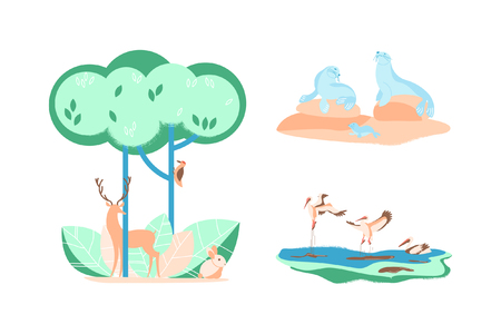 Set with Forest and wild animals in flat design. Concept isolated on white background. Vector illustration eps 10