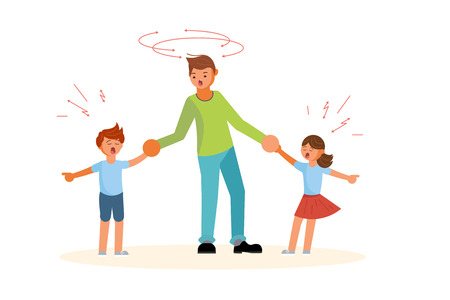 Difficulties of fatherhood and upbringing concept. Tired father with naughty children. Flat Art Vector illustration
