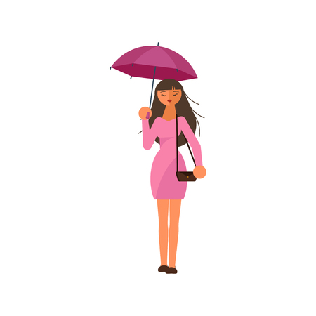 Autumn stormy and rainy weather. Woman holding umbrella under the rain. Flat Art Vector illustration