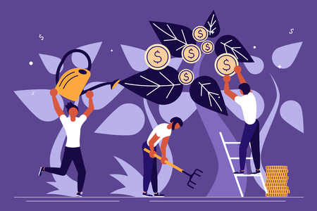 Business people, man and woman plant a money tree or picking dollars from money tree. Business growth, financial success concept. Flat Art Vector illustration