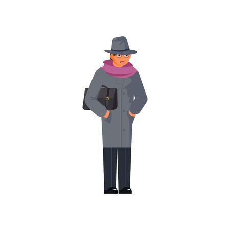 Mysterious man wearing a gray hat and coat is wrapped in a scarf from the cold isolated on white background. Flat Art Vector illustration