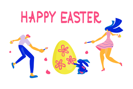 Happy Easter Horizontal greeting banner. Easter event, festival and fair flyer with families. Flat Art Vector illustration