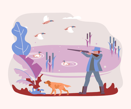 Hunter with a hunting dog shoots a wild ducks. Flat Art Vector illustration