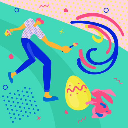 Happy Easter greeting banner. Easter event, festival and fair flyer with young man and rabbit on a green background. Flat Art Vector illustration