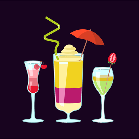 Set of exotic alcoholic cocktails in flat design. Flat Art Vector illustration
