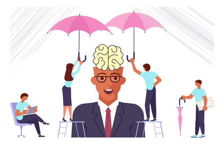 Office syndrome infographic, businessman have a headache. Mental health problems concept. Psychologists help a person to solve depression. Flat Art Vector illustration