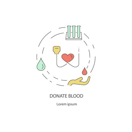 Caridad y donación fuera del concepto de diseño de línea de dar ayuda, donación de dinero, ropa, comida, medicamentos aislados sobre fondo blanco. Ilustración de Vector de arte plano