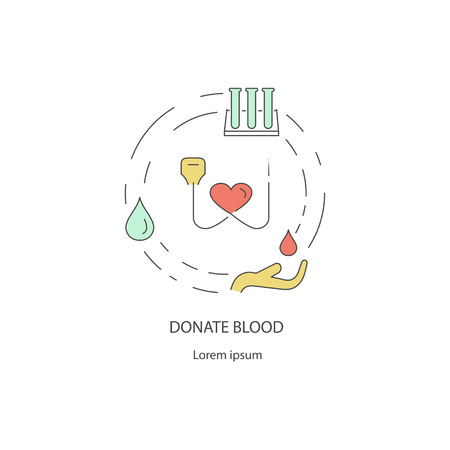 Charity & donation out line design concept of giving help, donating money, clothing, food, medicines isolated on white background. Flat Art Vector illustration