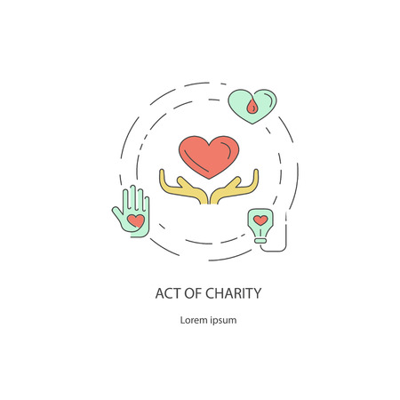 Charity & donation out line design concept of giving help, donating money, clothing, food, medicines isolated on white background. Flat Art Vector illustration Illustration
