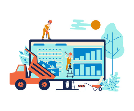 Development concept and website under construction background. 404 error or maintenance page with house building site, builders and construction equipment. Flat Art Vector illustration Illustration