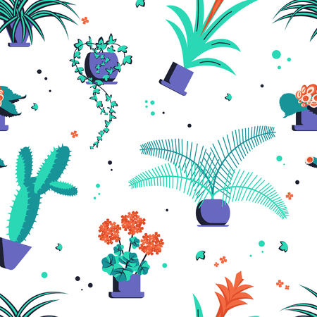 Abstract seamless pattern with home plant. Vector illustration eps