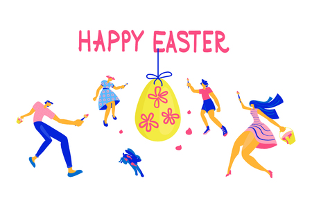 Happy Easter Horizontal greeting banner. Easter event, festival and fair flyer with happy family and rabbit on a white background. Flat Art Vector illustration